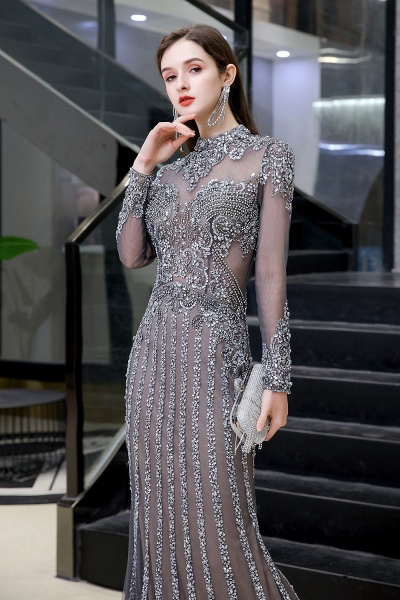 Long Sleeve Mermaid Sequins High-Neck Evening Gowns_5