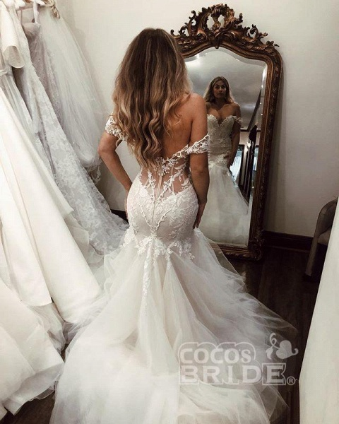 Off the Shoulder Mermaid Lace Long Tulle Wedding Dress_5