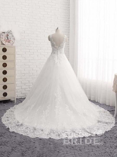 V-Neck Beaded Backless Lace A-Line Wedding Dresses_3
