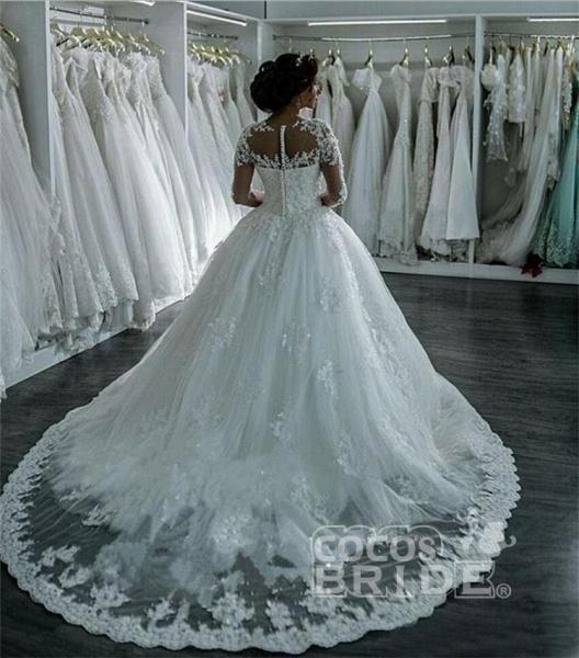Modest Sheer Neck Long Sleeves Ball Gown Wedding Dresses_2
