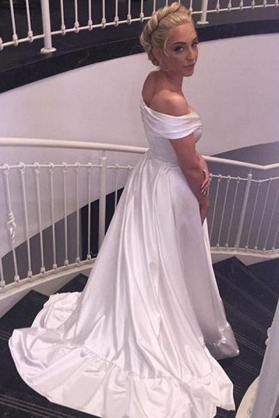 Simple Satin Off-the-shoulder Sexy Sweep Train Beach Wedding Dress_1