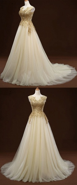 White Tulle Long Gold Applique Wedding Dress_5