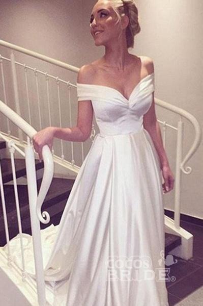 Simple Satin Off-the-shoulder Sexy Sweep Train Beach Wedding Dress_2