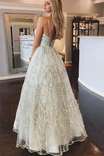 Floor Length Spaghetti Straps Backless Beach Wedding Dress_1