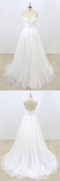 Sweetheart White Tulle Strapless Lace Wedding Dress_4