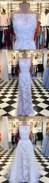 Elegant White Lace Column Long Wedding Dress_3