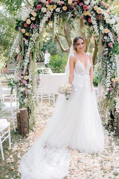Deep V-neck Beading Straps Tulle Appliques A-line Custom Beach Wedding Dress_4