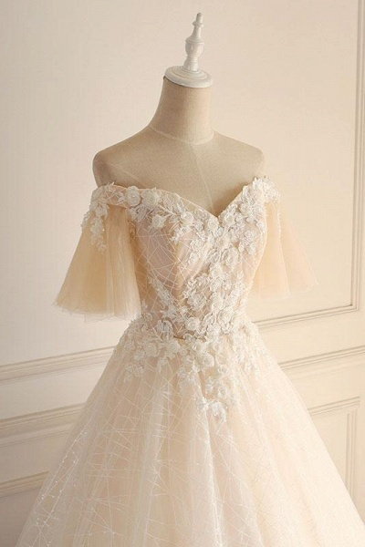 Light Champagne Tulle lace Short Sleeve Strapless Long Wedding Dress_2