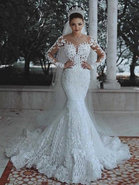 Modest Long Sleeves Lace Appliques Mermaid Wedding Dresses_1