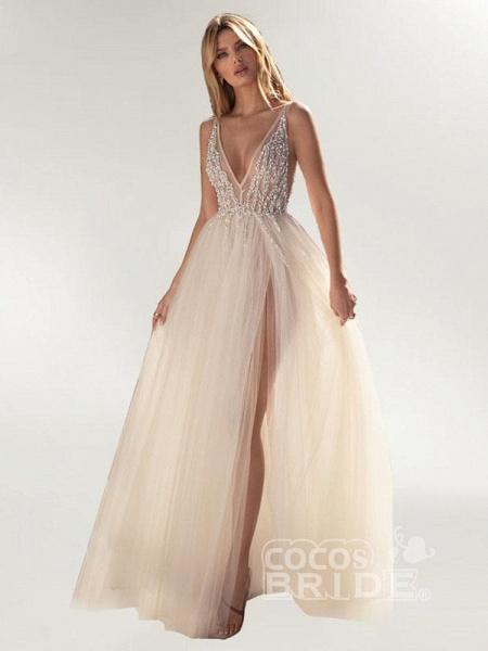 Graceful High Split V-neck Sequins Tulle Wedding Dresses_2