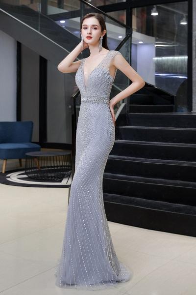 Sexy Mermaid V-neck Silver Long Prom Dress_5