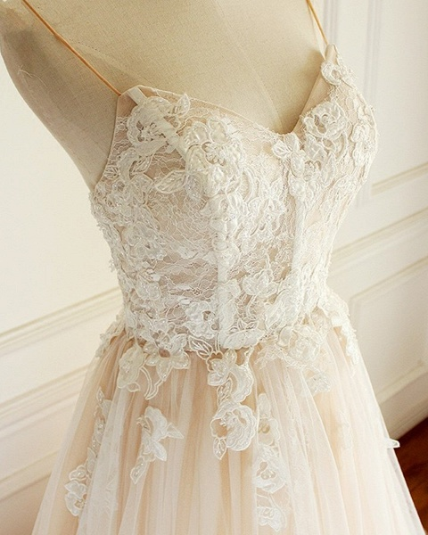 Sweetheart Creamy Tulle Spaghetti Sweep Train Wedding Dress_3