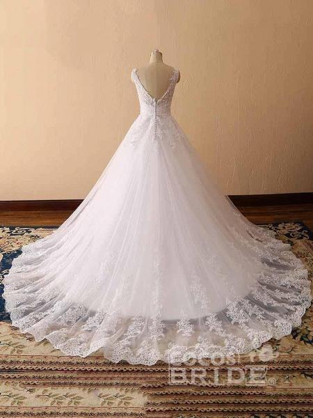 Gorgeous Spaghetti Strap V-Neck Backless Wedding Dresses_4