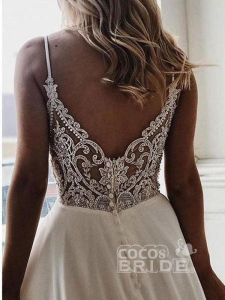 Simple V Neck Chiffon A Line Covered Button Boho Wedding Dresses_3