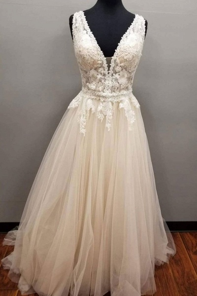 Creamy Tulle V Neck Long Lace Pearl Wedding Dress_1