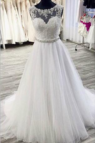 White Organza Lace A-Line Long Ball Gown Wedding Dress_1