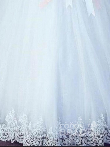 Amazing Off-the- Shoulder Lace Ball Gown Tulle Wedding Dresses_3