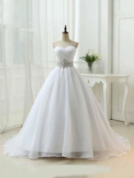 Perfect Sweetheart Lace-Up Ruffles Sash Wedding Dresses_1
