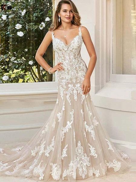 Elegant V-Neck Lace Mermaid Wedding Dresses_1
