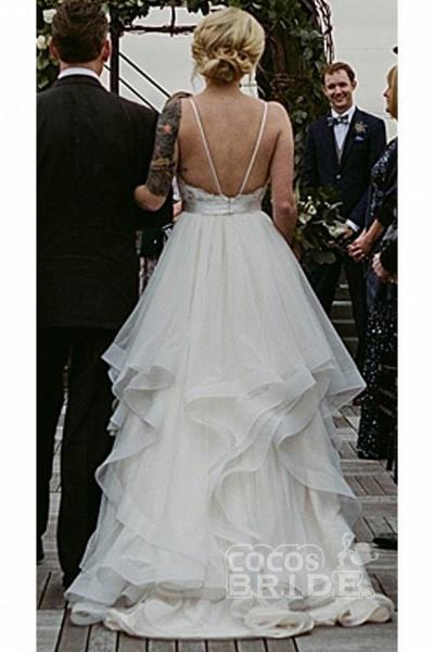 Charming Lace Ruffles Tulle Puffy Spaghetti Strap Beach Wedding Dress_2