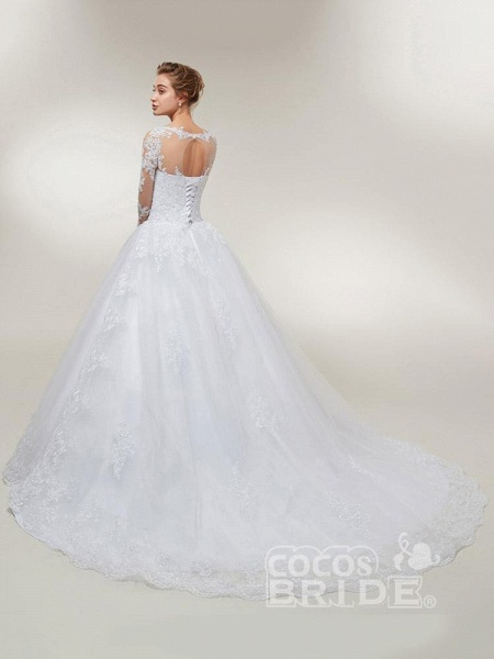 Glamorous Long Sleeves Lace-Up Ball Gown Wedding Dresses_4