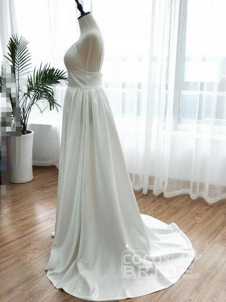 Simple Spaghetti Strap Sleeveless Backless A-Line Wedding Dresses_4