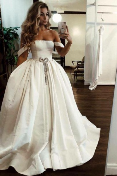 Puffy Off the Shoulder Satin Long with Pockets Simple Wedding Dress_1