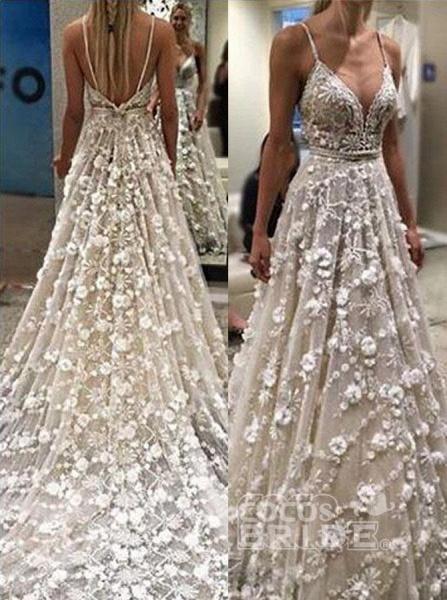 Stunning Deep V Neck Spaghetti Straps Lace Backless Court Train Wedding Dress_2