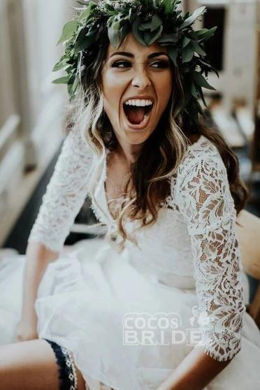 Ivory Chiffon Rustic Cheap 3/4 Sleeves Two Piece Wedding Dress_3