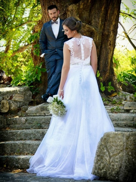 Cheap Jewel Lace A-Line Wedding Dresses