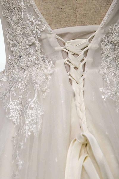 V Neck Long Lace White Lace Sweep Train Wedding Dress_3
