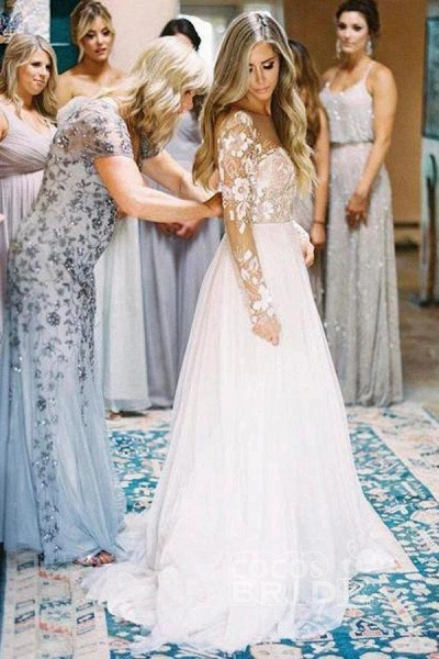 Chic A-line Long Sleeve Lace Backless Country Wedding Dress_3