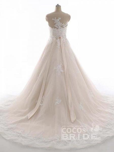 Elegant Bateau Lace Appliques Ribbon Wedding Dresses_2