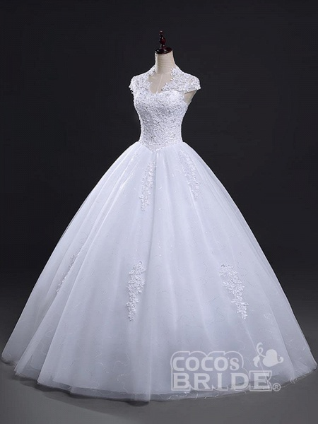 V-Neck Cap Sleeves Ball Gown Lace Wedding Dresses_2