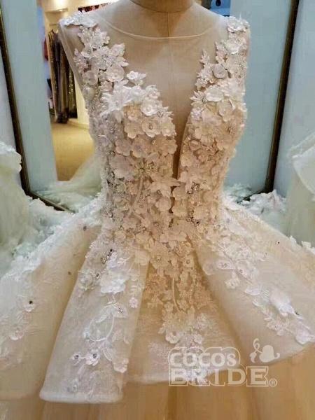Gorgeous Sleeveless Ball Gown Appliques Flowers Court Train Wedding Dress_2