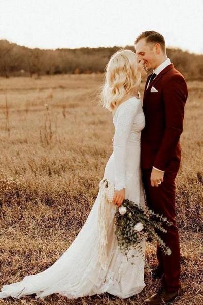 Ivory Long Sleeve Rustic Backless Sheath Beach Wedding Dress_1