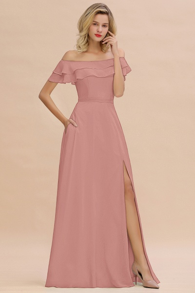 BM0775 Off-the-Shoulder Front Slit Mint Green Long Bridesmaid Dress_50