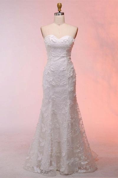 White 3D Lace Sweetheart Neck Long Mermaid Wedding Dress_1
