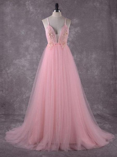 Gorgeous V-Neck Backless Tulle Wedding Dresses_1