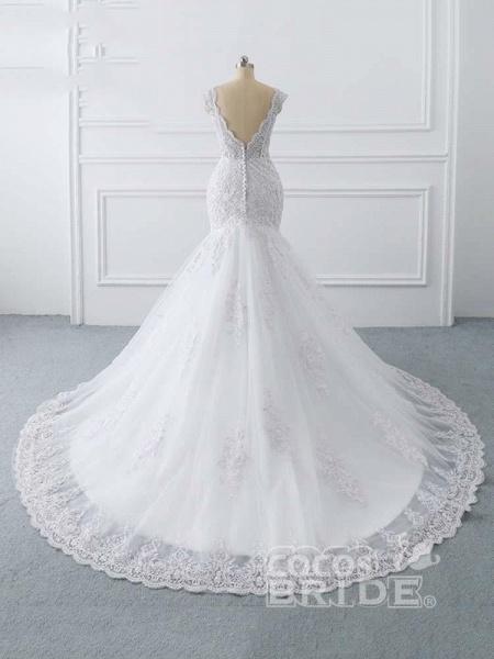 V-Neck Mermaid Lace Wedding Dresses_3