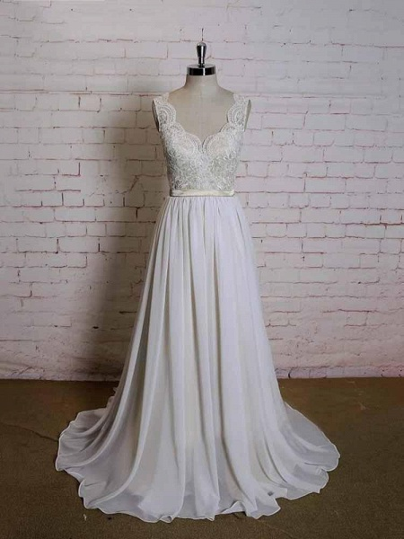 Modest Lace Chiffon A-Line Wedding Dresses_1