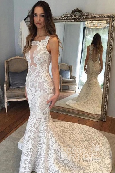 Delicate Illusion Court Train Lace Mermaid Wedding Dress_2