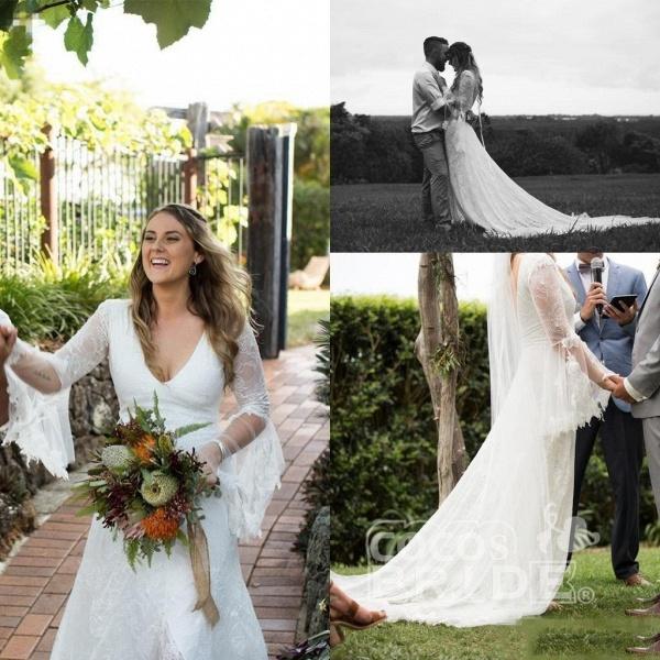 Boho V Neck Beach with Long Sleeves Unique Lace Wedding Dress_4