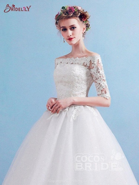 Elegant Off-the-Shoulder Long Sleeves Lace Ball Gown Wedding Dresses_3