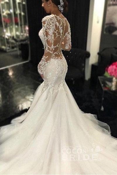 Gorgeous Long Sleeves Mermaid V-neck Gown Ivory Wedding Dress_4
