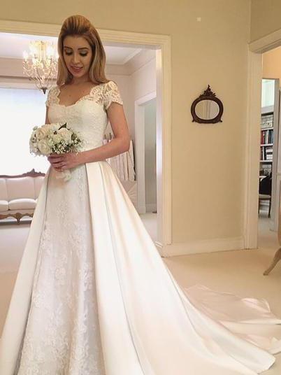 V-Neck Short Sleeve Lace Satin A-Line Wedding Dresses_1