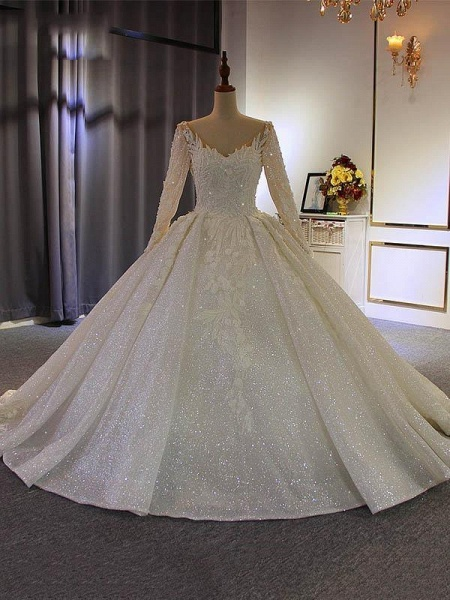 Classical V Neck Long Sleeve Ball Gown Wedding Dresses_1
