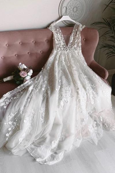 White Tulle V Neck Open Back Long Flower Lace Wedding Dress_1