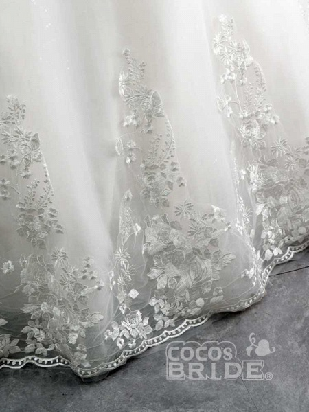 Gorgeous Off-The-Shoulder Lace Ball Gown Wedding Dresses_6