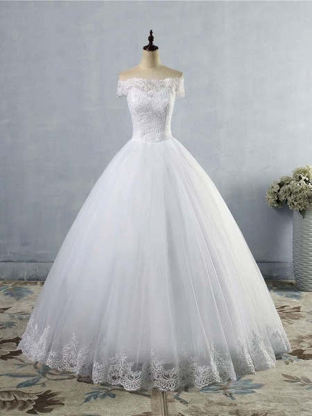 New Lace Off-The-ShouldeR Ball Gown Tulle Wedding Dresses_1